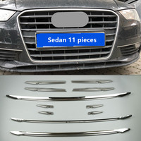 Stainless Steel Front Grill Decorative Strips For Audi A3 8V Sedan Sportback 2013 2017 Center Grille Grid Cover Trim Car Decals