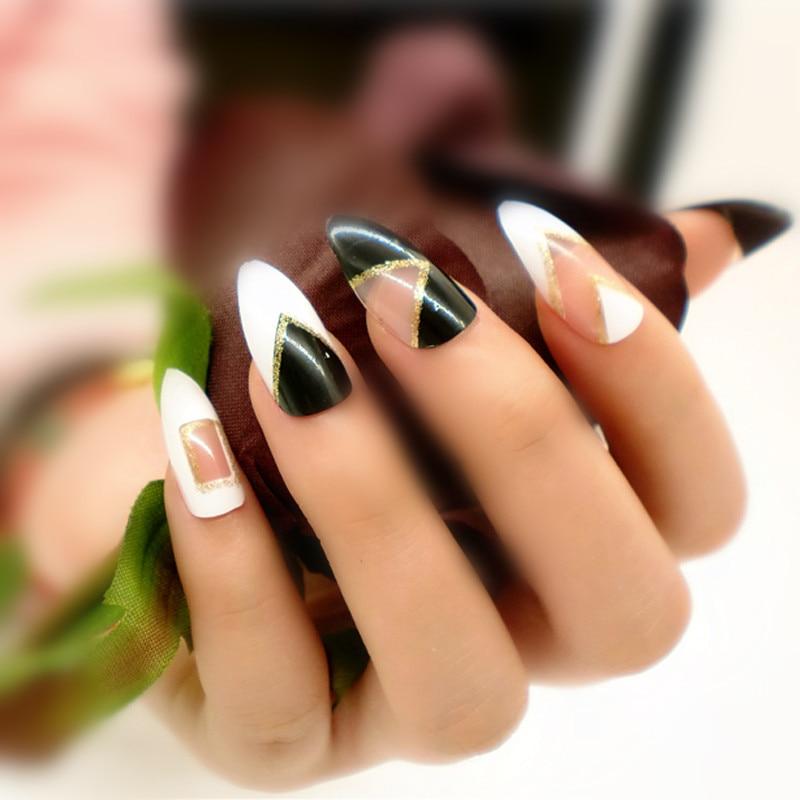New Retro False Stiletto Nails 24pcs Decorated False Nails Classic ...