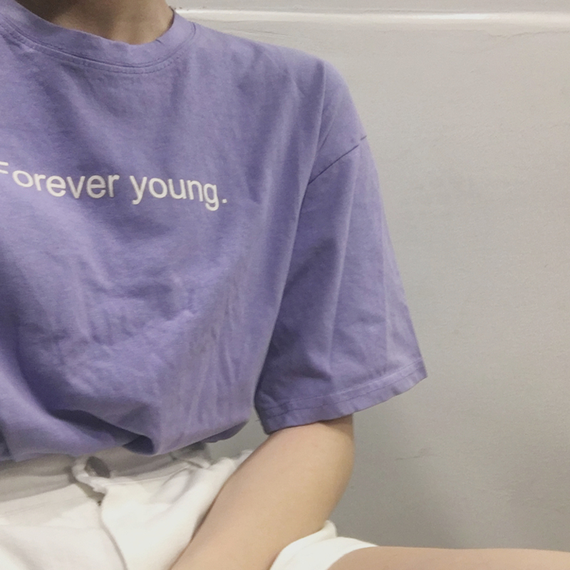 Футболка женская, с надписью Forever Young, в Корейском стиле