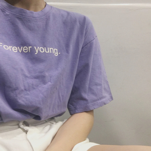 2018 Korean Style Best Friends tv T shirts Women Purple White Aesthetic Style Tshirt Women Forever Young Letter Printed Tops(China)