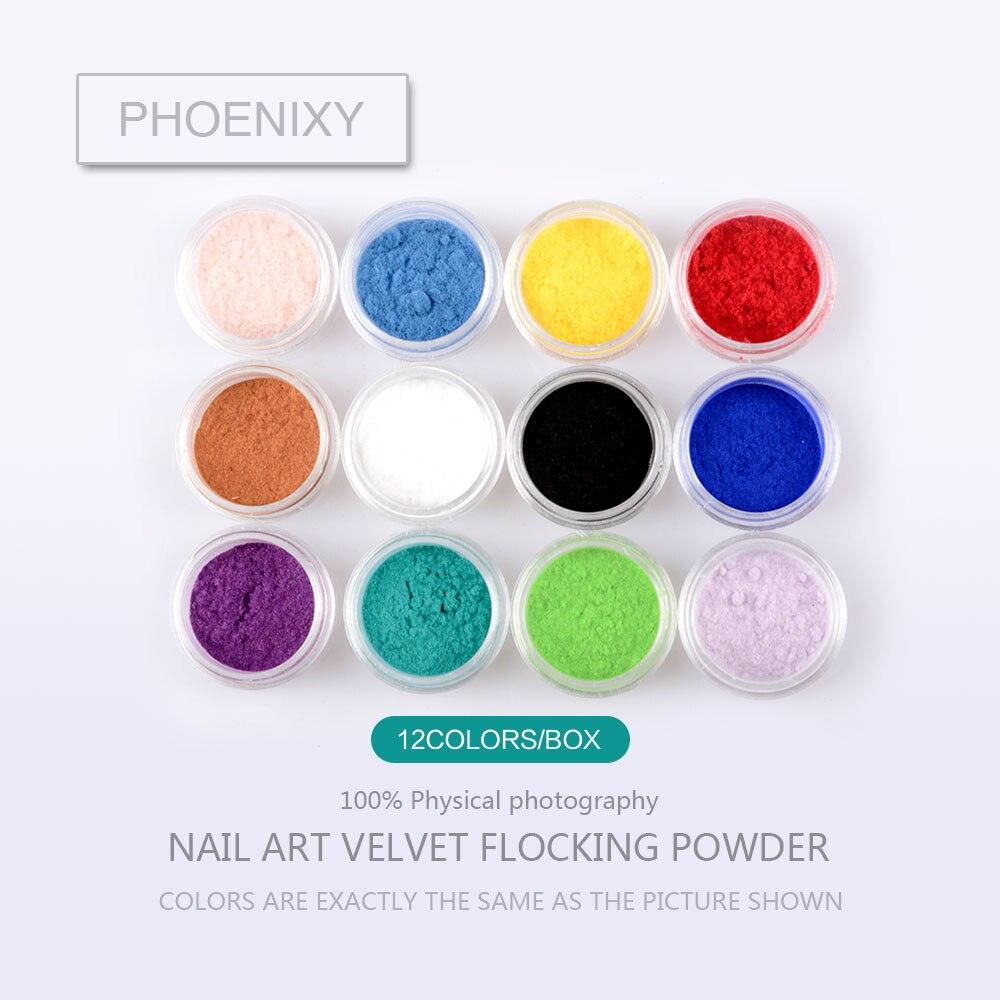 12 Colors/Box Decoration Polish Glass Nails Art DIY Tips Design Velvet Flocking Dust Powder Manicure Velvet Powder