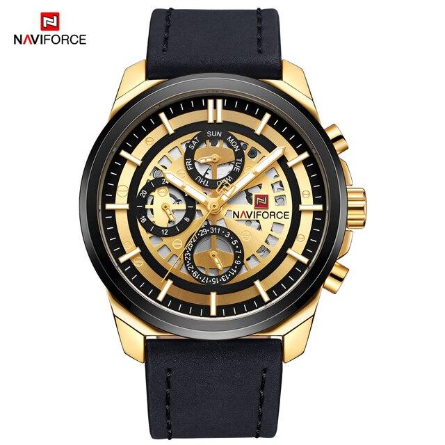 NAVIFORCE Nieuwe Luxe Mannen Quartz Horloges Datum Display Sport Horloge Lederen Mode Toevallige Mannelijke Klok Waterdicht Relogio Masculino