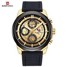 NAVIFORCE יוקרה ניו גברים קוורץ שעונים תצוגת תאריך ספורט זכר שעון עמיד למים מזדמן אופנה עור שעון Relogio Masculino