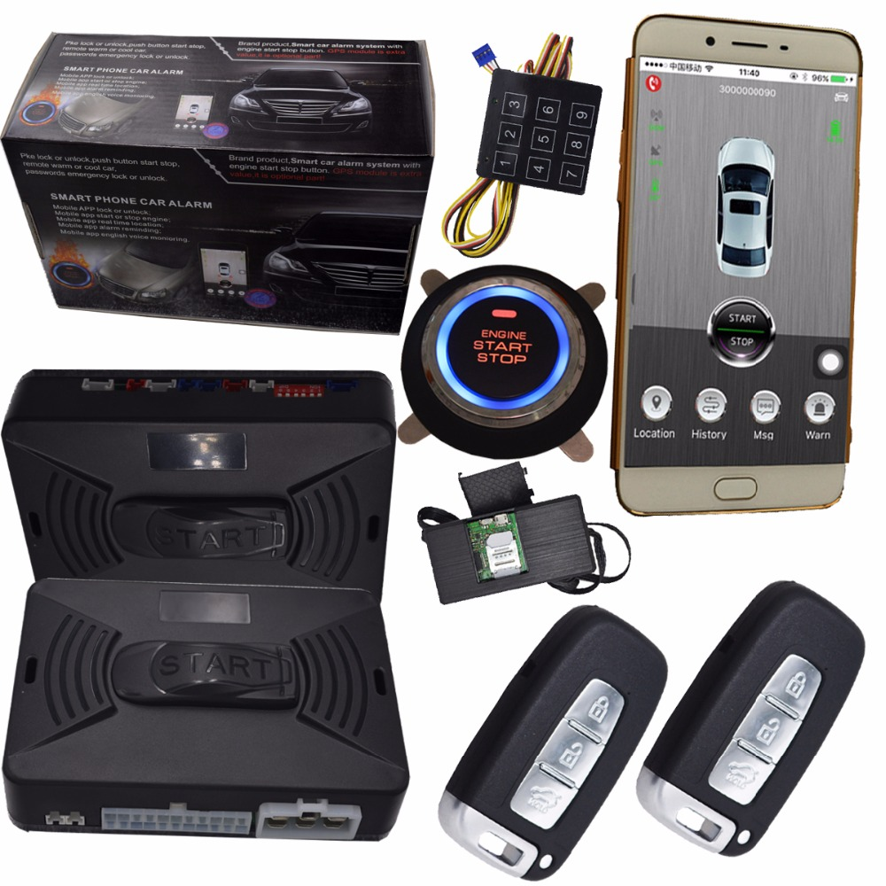 gps car alarm security system with smart ignition key remote alarm mobile app control car central