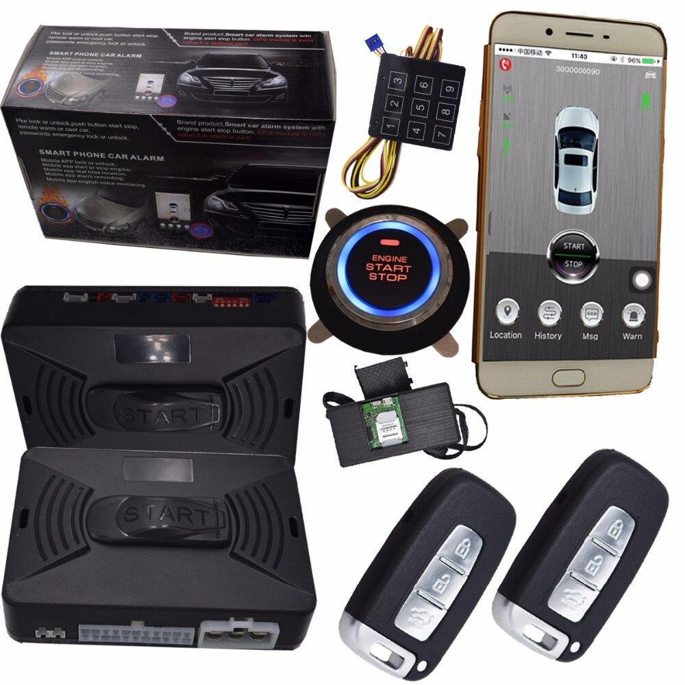 Gps alarme de voiture système de sécurité avec smart clé de contact à distance alarme mobile app contrôle de voiture verrouillage central déverrouiller 3g données version