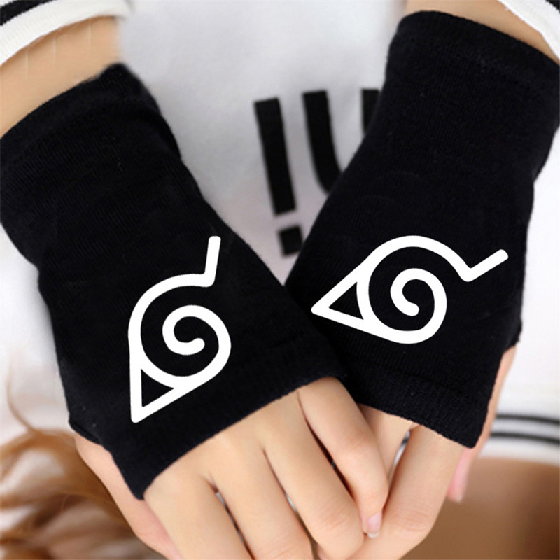 Naruto Hokage Ninja Sharingan Winter Warm Half Finger Glove Cosplay Accessories Men Women Japanese Anime Cartoon
