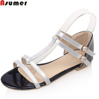 ASUMER Plus Size 33 46 Fashion 2018 Summer New Arrival Buckle Casual Mixed Colors Flat With