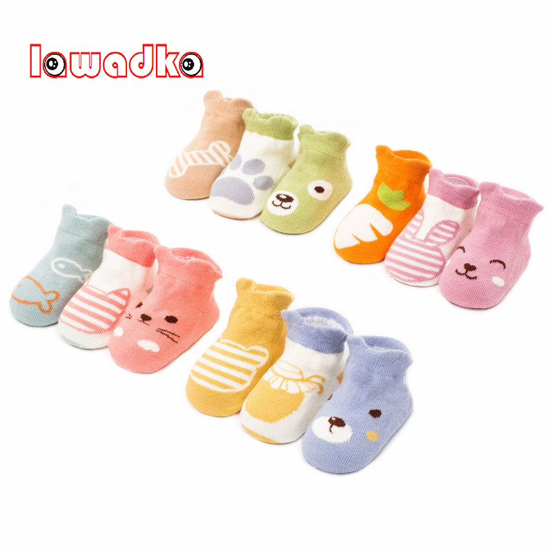 Lawadka 3Pairs/lot Cotton Cartoon Animal Baby Socks Newborn Baby Boys Girls Sock Cute Toddler Kid Socks Size SandM