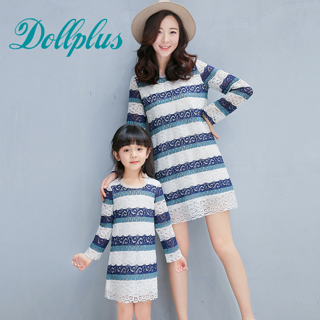 c34dbab0d98 2017 mom and daughter dress family matching mother lace crochet striped  mother and daughter dress summer