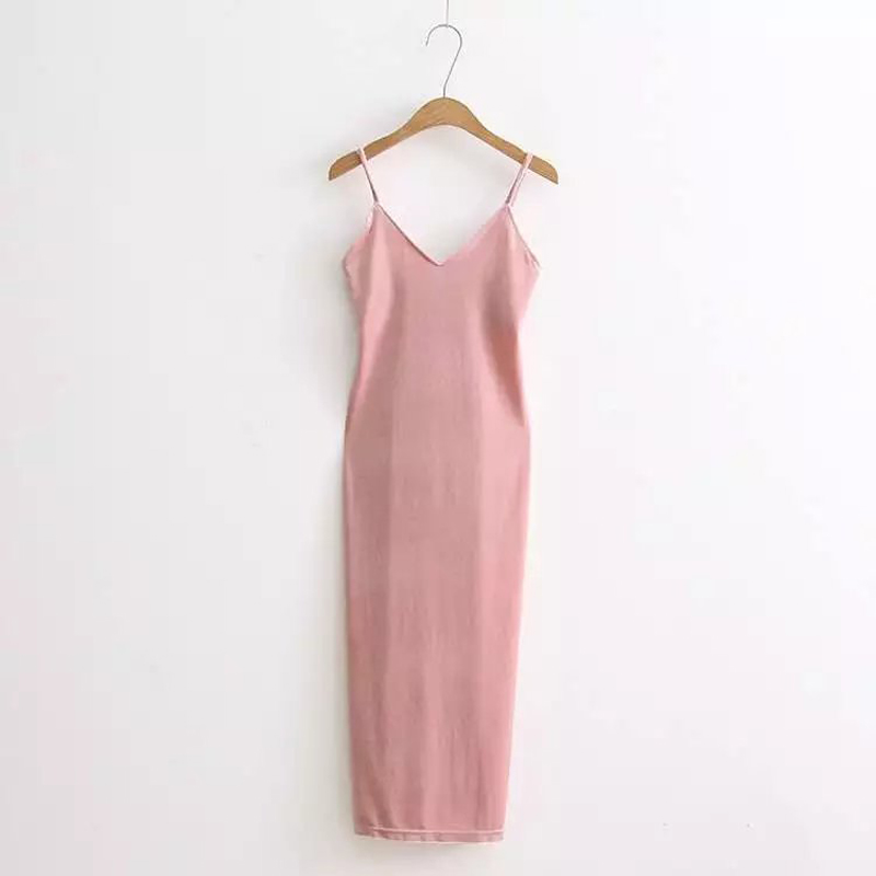 Velvet Slip V haljine za žene špagete Strap seksi jednodijelni - Ženska odjeća - Foto 5