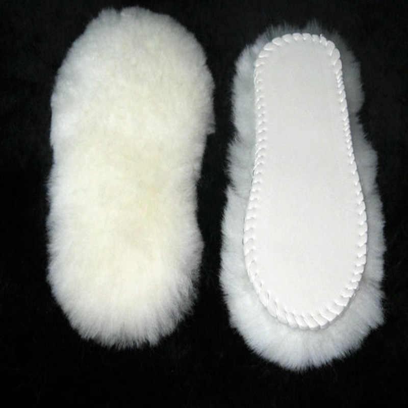 Unisex Tabanlık Kar Botları Kalın Ayakkabı için Gerçek Kürk 100% Kaşmir Koyun Yün Termal Tabanlık Sıcak Yumuşak Ayakkabı Boyutu 35-45