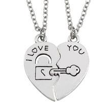Romantic Silver Color Couple Lover Half Heart Pendants Necklaces for Couples Love You Key Lock Promise Bijoux Necklaces 2PCS
