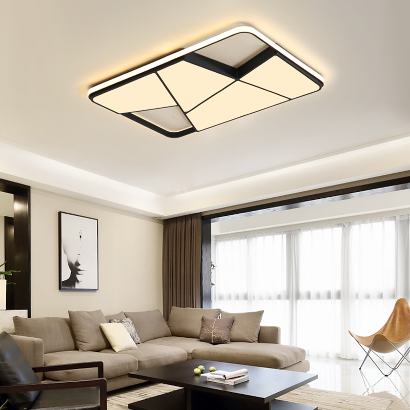 Rectangle modern led ceiling lights for living room lights bedroom study room white/black 95-265V square Dimming ceiling lamp black white modern led ceiling lights for living study room bedroom rectangle remote control dimming luxury ceiling lamp fixture