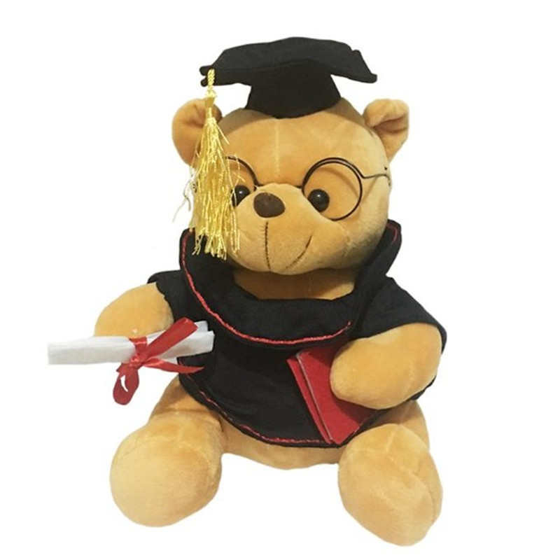 1pc 35cm Cute Teddy bear plush toy stuffed cartoon lovely bear animal dolls Graduating Dr. Bear Creative baby kids birthday gift