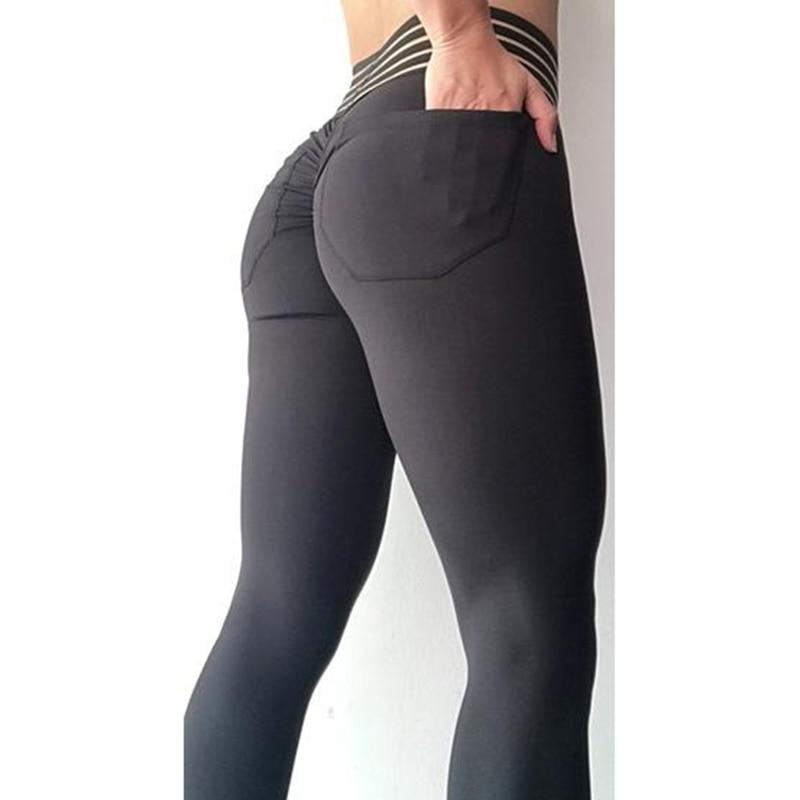 Women High Waist Fold Leggings Sexy Hip Push Up Pockets Female Jegging Leggins Solid Autumn Pants