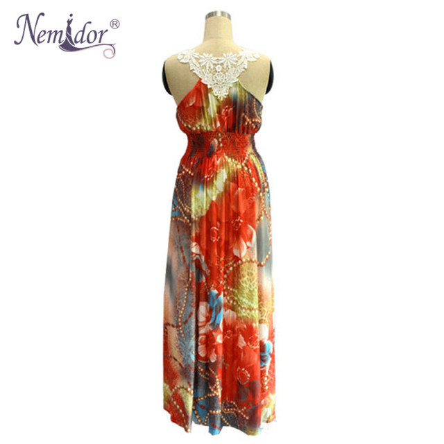 Women Casual V-neck Patchwork Print Stretchy Dress Loose Sleeveless Plus Size 6XL 7XL Maxi Dress 3