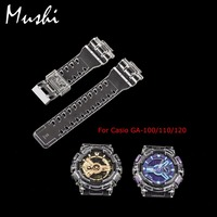 16mm Rubber Watchbands Transparent Men Sport Diving Silicone Watch Strap Watch Case Metal Buckle For G