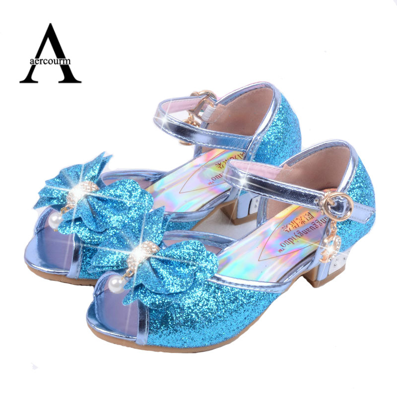 Aercourm A Children Leather Sandals child high heels Girls Princess Summer Elsa Shoes Chaussure Enfants Sandals Party Anna Shoes