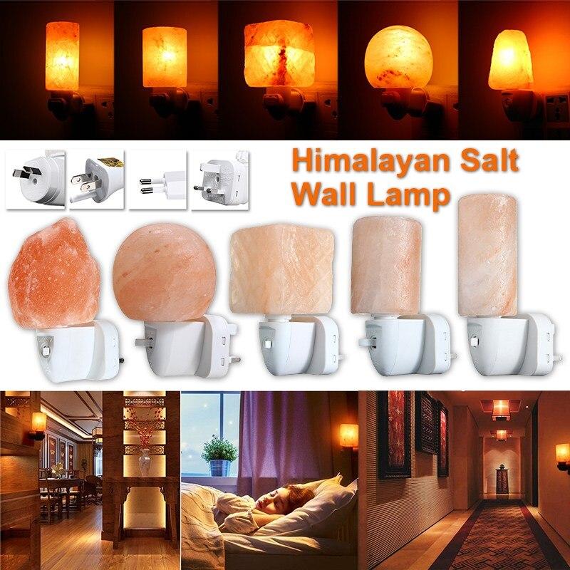 Smuxi 15W Mini Himalayan Salt Night Light Cylinder Shape Wall Lamp Bedside Bedroom Home Decor Novelty Lighting US EU UK AU Plug
