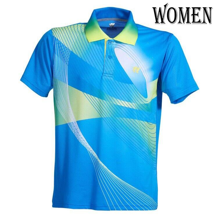 Спортивная быстросохнущая дышащая футболка для бадминтона, майки для женщин/мужчин, волейбол, гольф, настольный теннис, боулинг, мужские футболки - Цвет: Woman Blue Shirt