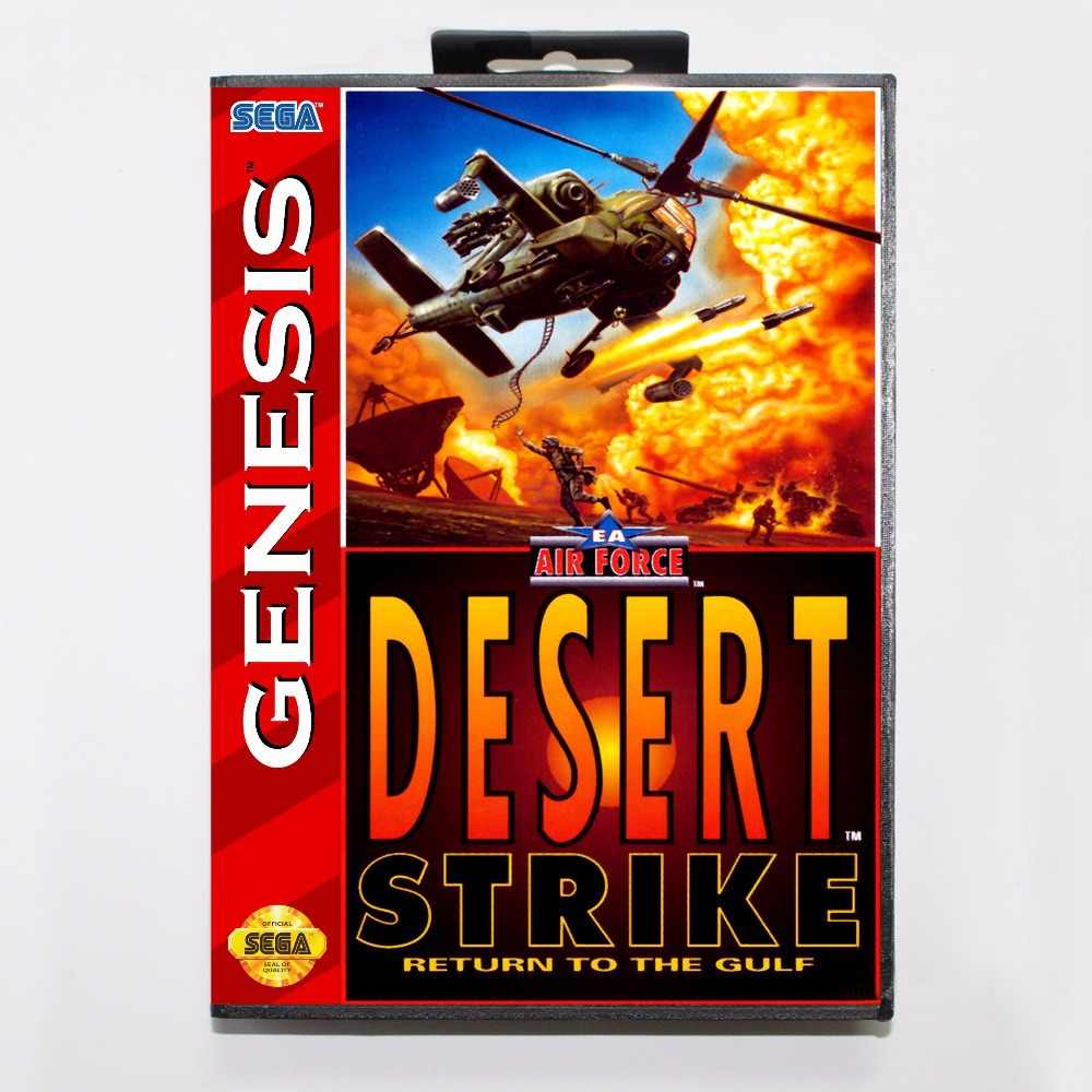 Desert Strike Game Cartridge 16 bit MD Game Card With Retail Box For Sega Mega Drive For Genesis
