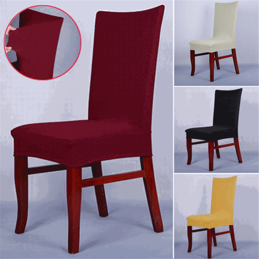 Dining Room Chair Protective Covers: Chair Cover Red Solid Color Dining Chair Covers Spandex