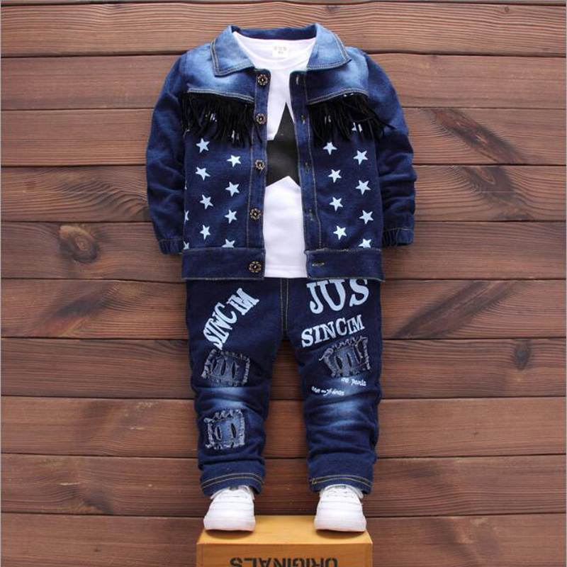 2018 Baby Boys Denim Jacket Clothing Sets Children Girls Broken Hole Pants+Coat+T-Shirt Toddler Kids Casual Fashion Sport Suits