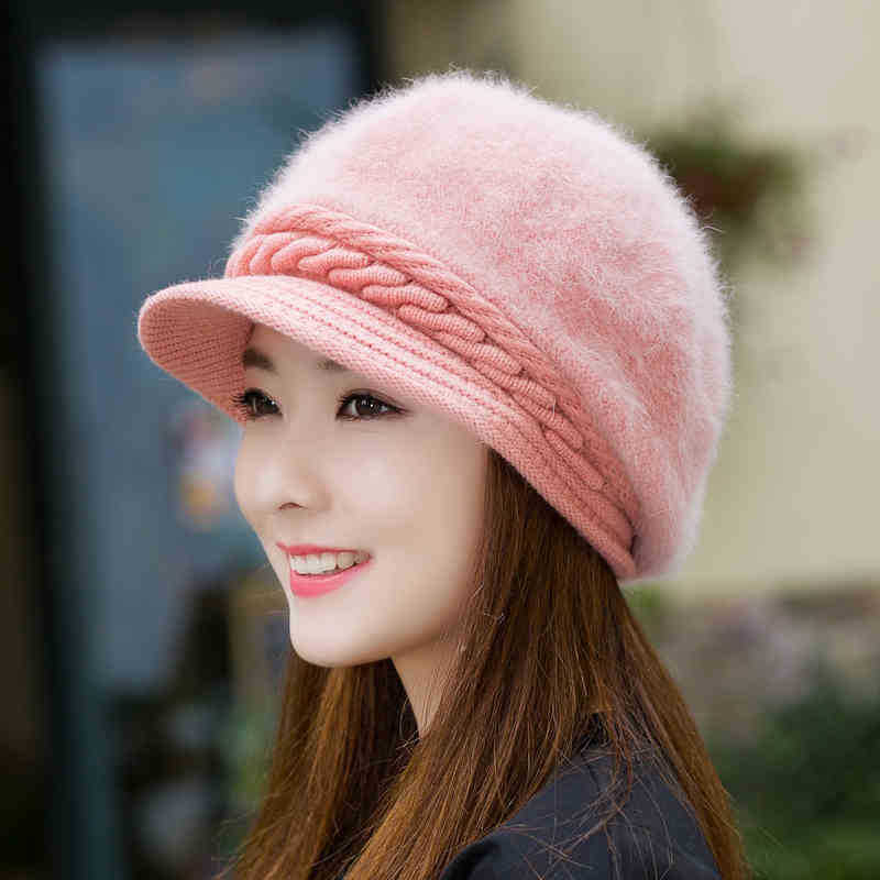 Warm Rabbit Fur Visor Cap Lady Autumn Winter New Korean Fashion Pure Color Short Eave Knitting Girl Hat Women Casual Hats H7306