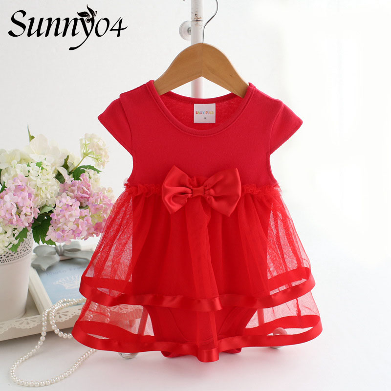 Newborn Baby Dress Summer Cotton Bow Kids Infant Rompers Clothes 2018 Fashion Cute Sweet Lace Baby Girls Jumpsuit Short Dresses