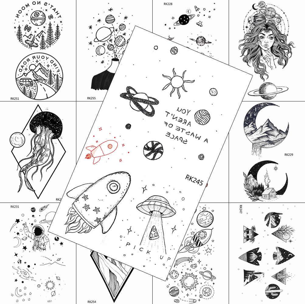 Planetas criativos tatuagens temporárias adesivo falso arte do corpo wasit pernas tatuagens para crianças adulto realista aqupoof tatuagens geométricas