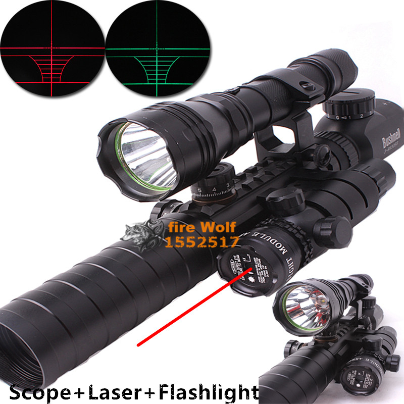 2016 New 1set Optical Sight Riflescope 3-9X32EG Hunting Optics +Scope Mount+ Laser Sight +Black Flashlight xl nxf rg 5mw green laser gun sight w weaver mount led flashlight black 3 x cr 1 3n