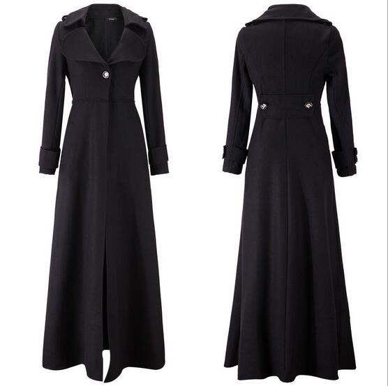 Best selling Fashion 2017 Europe and The United States autumn and Winter New Womens Wool Coat Plus Long Coat Slim Dragging Coat