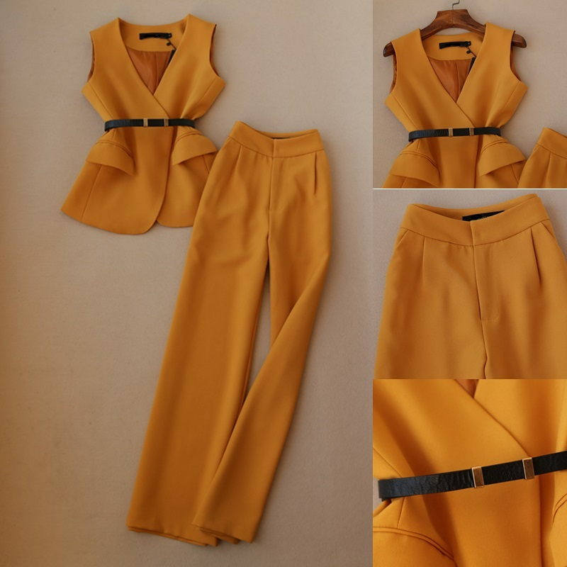 2019 Spring NEW Fashion Women Work Wear Yellow V-neck Vest Top And Full Length Pants Wide Leg Trousers OL Set