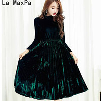 Runway Dresses 2017 Women High Quality Women S Fashion Dresses A Line Pleated Vintage Dress Long
