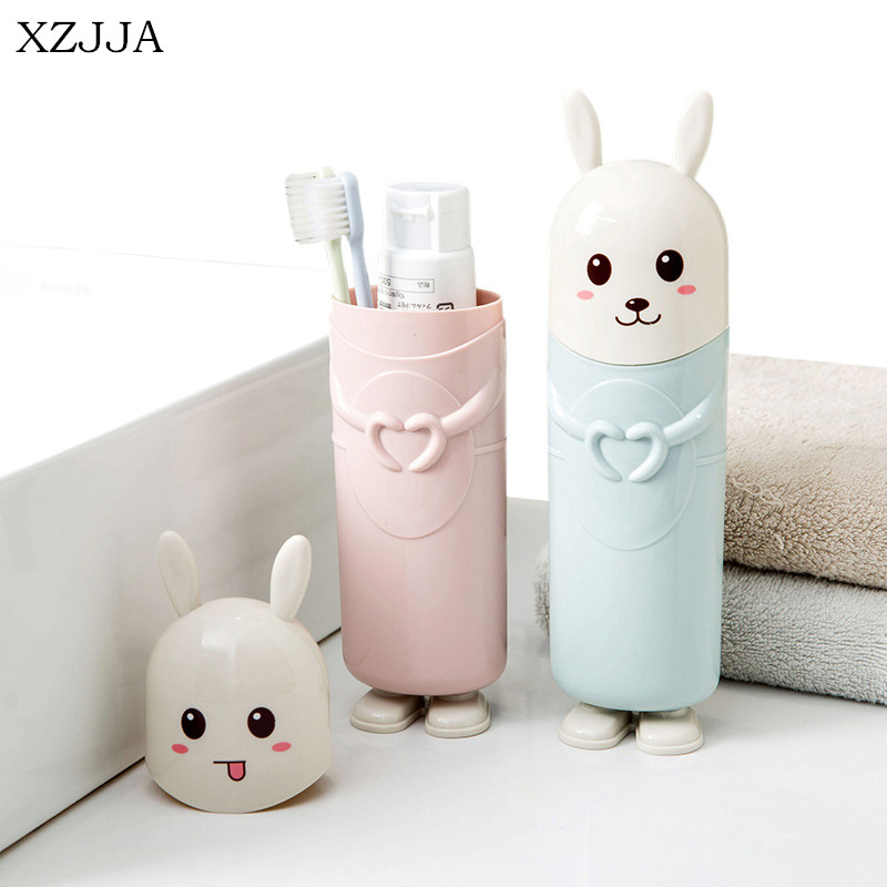 XZJJA Cute Rabbit Toothbrush Toothpaste Holders Travel Portable Tooth Brush Cover Case Cartoon Toothbrush Box Bathroom Container