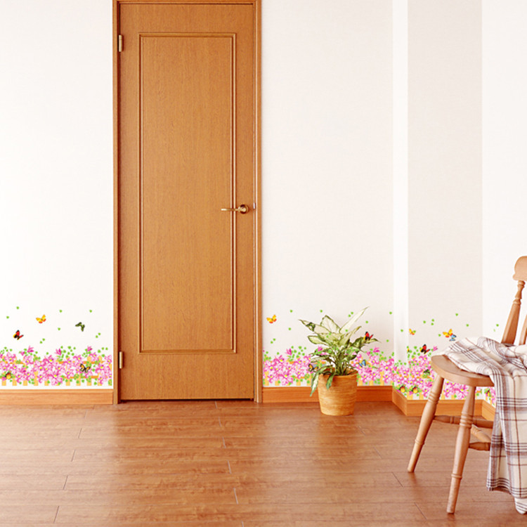 Warm Romantic Pink Flower Skirting Line DIY Removable Wall Stickers Wall Decal Home Decor Wallpaper Small Size AM5003