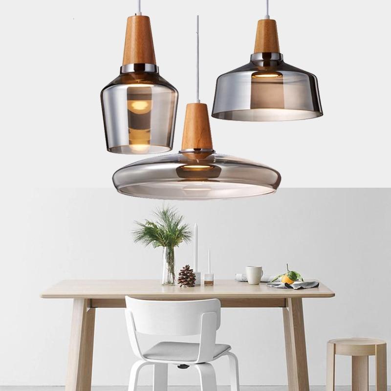 Modern Led Glass Pendant Light Fixture With Wood Vintage Rustic Hanging Lamp For Cafe Bar Restaurant Home Deco Loft Lighting