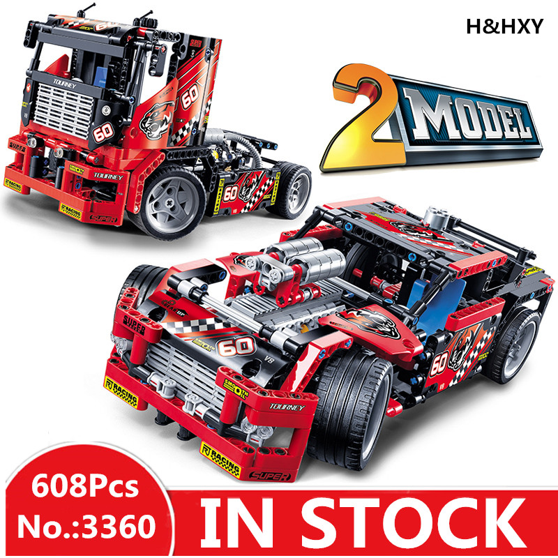 H&HXY 3360 608pcs Free shipping Race Truck Car 2 In 1 Transformable Model Building Block Sets DIY Toys Compatible Technic 42041 608pcs race truck car 2 in 1 transformable model building block sets decool 3360 diy toys compatible with legoe technic blocks