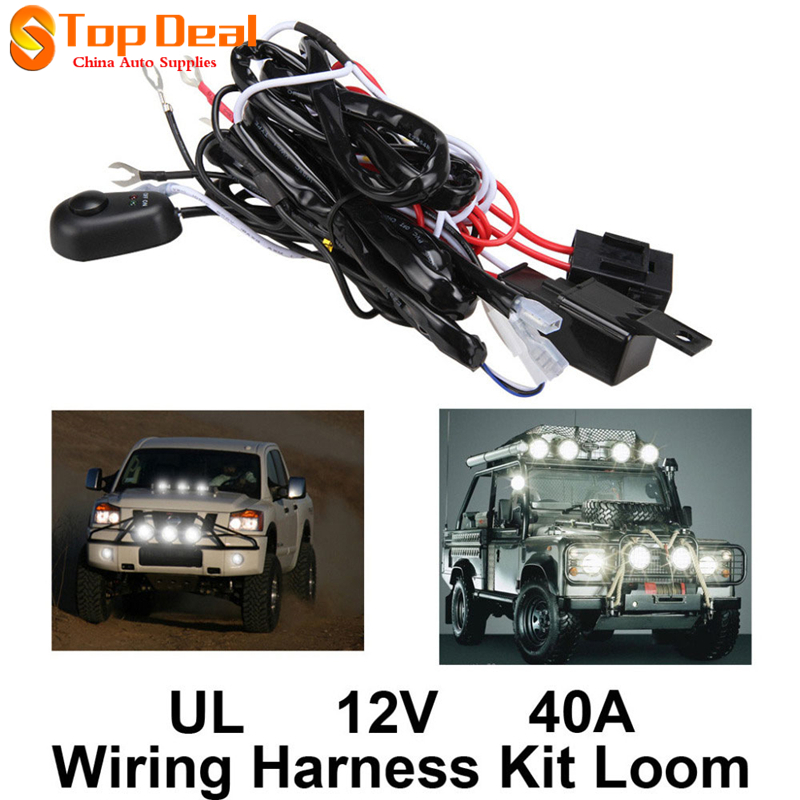 Universal 12V 40A Motorcycle Fog Light Wiring Harness Kit Loom For LED Work Driving Light Bar universal 12v 40a motorcycle fog light wiring harness kit loom for universal motorcycle wiring harness kits at edmiracle.co
