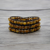 3 Wraps beads bracelet leather wraps beaded bracelet yellow tiger eye beads bracelet yoga jewelry bohemian beads dropshipping
