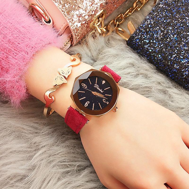 No Fade Luxury Crystal Star Sky Women's Watch Fashion Simple Roma Dail Bracelet Watch Polygon Gift Clock