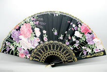 Hand Held Bamboo Black Flower Folding Fan Wedding Party Decor(China)