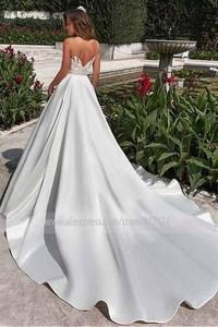 Image 4 - Scoop Sheer Neckline Lace Applique ซาติน A Line ชุดแต่งงานกับ Backless Chapel Train สวนชุดเจ้าสาว vestido de novia