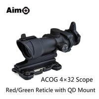 Aim O ACOG 4x32 Optical Rifle Scope Red Green Reticle With Mount 1 Set AO5319