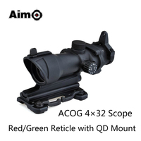 Aim O ACOG 4x32 Optical Rifle Scope Red Green Reticle With Mount 1 Set AO5319