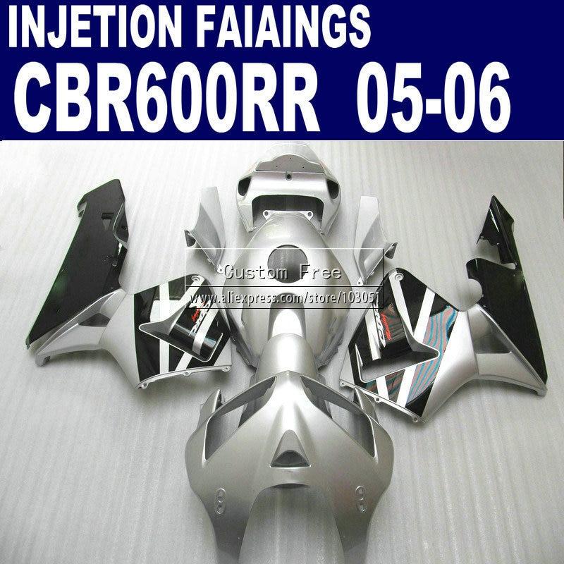 Инъекции обтекатели комплект для Honda Silver черный CBR 600RR обтекатель CBR 600RR 2005 2006 CBR600RR 05 06 мотоцикл bodykits и сиденье c