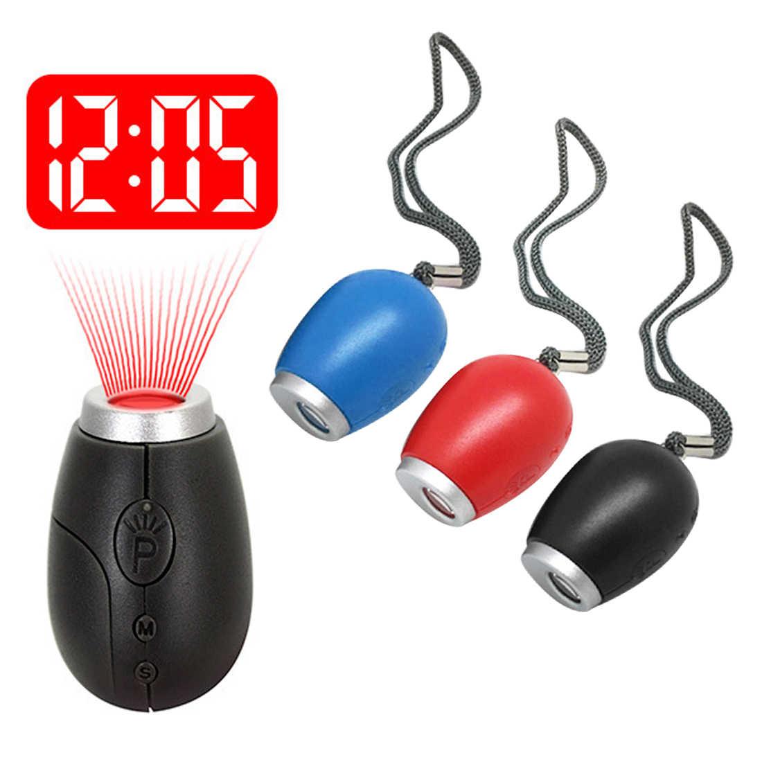 מיני מעורר שעון דיגיטלי הקרנת LED Keychain עיצוב שעון לילה אור קסם מקרן שעון עם כפתור סוללה