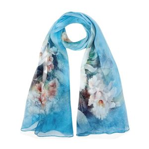 Image 5 - 2018 High quality 100% mulberry silk scarf natural real silk Women Long scarves Shawl Female hijab wrap Summer Beach Cover ups