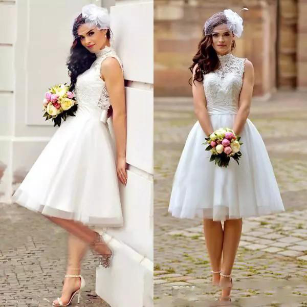 Buy 2019 Vintage Lace A Line Wedding Dresses Short Boho Beach Bridal Gowns High Neck Back Zipper Knee Length Bridal Gowns for only 187.68 USD
