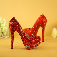 Bride Shoes Red High Heeled Rhinestone Handmade Crystal Shoes Waterproof Table Evening Dress Shoes Wedding Wedding